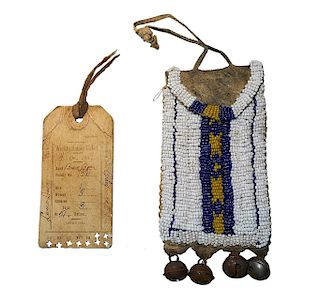 Cheyenne Beaded Pouch & Ration Ticket c. 1889