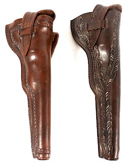 Hand Tooled & Carved Colt Navy Model 1851 Holsters