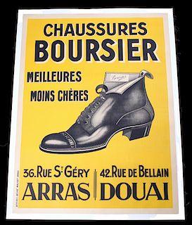 1920s French Art Deco Poster, Chaussares Boursier