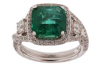 4.01ct Emerald & 1.19ct Diamond 18K Gold Ring