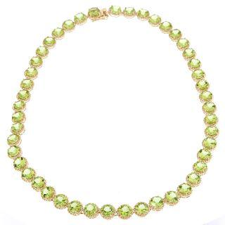57.58 ct Peridot Yellow Gold Overlay 925 Necklace