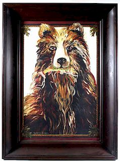 """Signed Suzanne Etienne """"The Bear"""" Painting"""