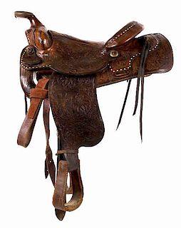 Hereford Brand Tex Tan Yoakum Floral Tooled Saddle