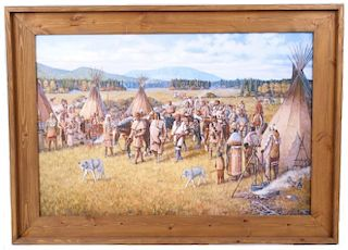 Signed Jesse W. Henderson Trading Party Painting