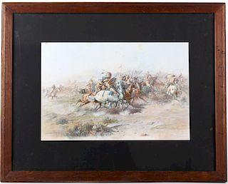 Original CM Russell Chromolithograph Custer Fight