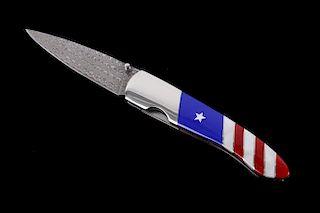 Patriotic Flag Lapis & Coral Inlaid Damascus Knife