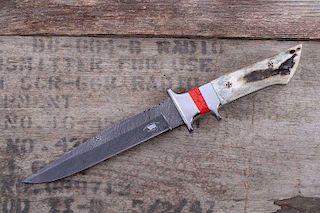 M.T. Knives Sambar Stag & Jasper Damascus Knife
