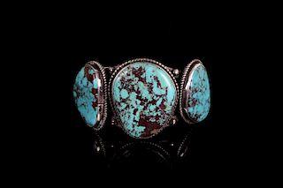 Signed Navajo Sterling & Pilot Mountain Bracelet