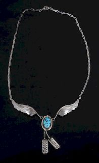 Navajo Sterling Wing & Feather Turquoise Necklace
