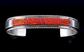 Fran Yazzie Navajo Inlaid Red Opal Sterling Cuff