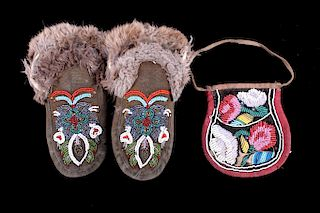 Iroquois Fully Beaded Flat Bag & Moccasins 19th C.