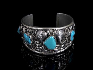 Signed Navajo Silver and Turquoise Bracelet