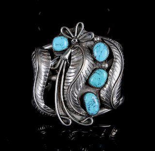 Navajo Silver and Sleeping Beauty Turquoise Cuff