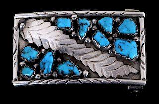 Zuni Wayne C. Turquoise Silver Belt Buckle