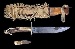 Early American Frontiersman Bowie Knife 19th C.