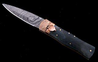 German Lever Lock Damascus Dagger Switchblade