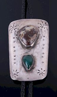 Navajo Sterling Silver & Turquoise Bolo Tie