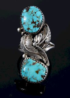 Signed Navajo Sterling Silver & Turquoise Ring