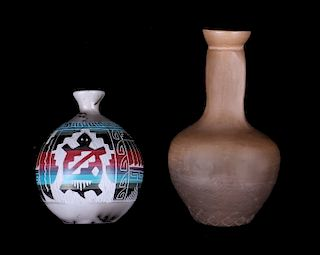 Signed Navajo Native American Hand Made Vases
