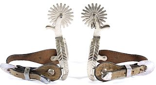 Nickel Finished Western Style Rodeo Spurs