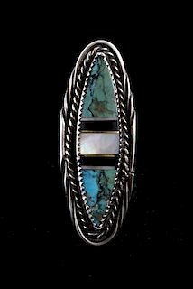 Large Silver Multi Stone Cerrillos Turquoise Ring