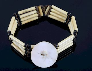 Sioux Bone Hair Pipe & Abalone Choker Necklace