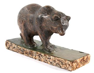 Black Forest Hand Carved Wooden Bear Statue