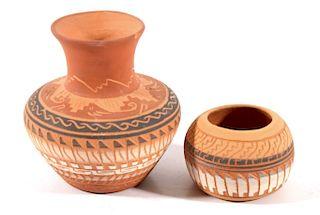 Signed Navajo Small Polychrome Pottery Jars