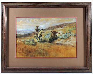Charlie Russell Framed Buffalo Hunt Print
