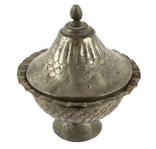 Tinned Copper Ottoman Empire Covered Serving Dish