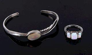 Navajo White Opal Bracelet and Ring Set