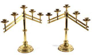 Brass Five Candle Adjustable Candelabras