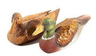 Wood Carved Folk Art Duck Decoy Carvings