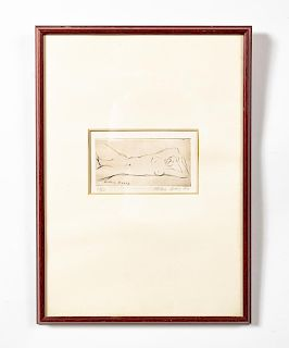 Milton Avery Signed Etching, Reclining Nude