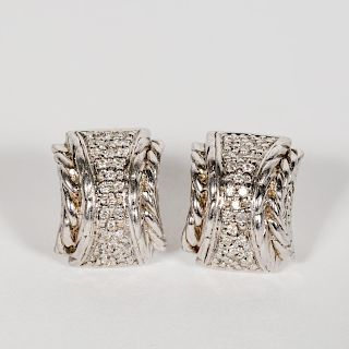 Pair, John Hardy White Gold & Diamond Earrings