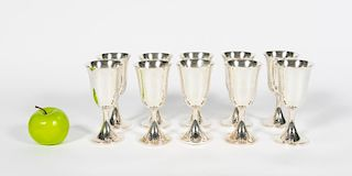 Set, Ten Sterling Silver Footed Goblets