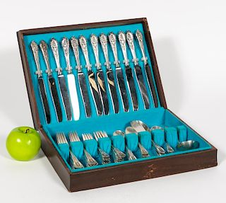 """Wallace """"Rose Point"""" Sterling Flatware, 54 PCs"""