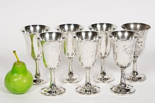 Set, Seven Wallace Sterling Silver Goblets