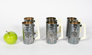 """Set, 8 Mexican """"Cerveza"""" Sterling Silver Beer Mugs"""