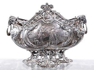 German Hanau .812 Silver Repousse Footed Bowl