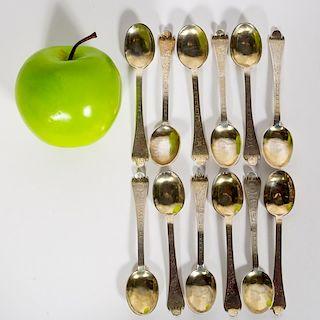 Set 12 Silver Augsburg Trifid Teaspoons