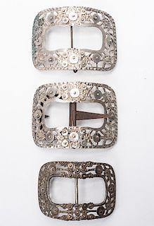 Three Dutch Silver (.833) Shoe Buckles