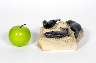 Inuit Whalebone/ Steatite Carving, Matiusie
