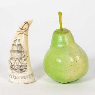 Signed Scrimshaw Whales Tooth, Nautical Scene