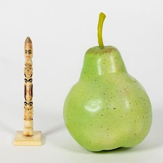 Small Carved Walrus Bone, Frog Totem Pole
