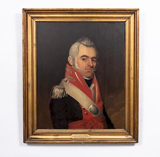 Oil on Wood Panel, Portrait of a Military Officer