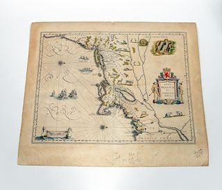 Early American East Coast Map, Willem Bleau