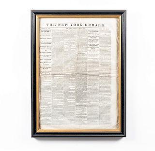 Framed NY Herald Lincoln Assassination Newspaper