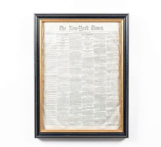 Framed NY Times, Sherman's March, Newspaper, 1864