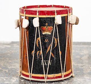 British 64th Regiment of Foot Painted Drum Table